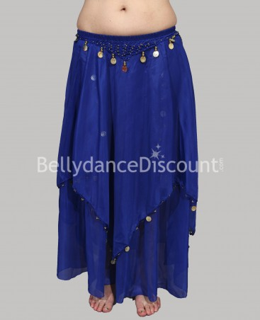 Dark blue belly dance skirt with lining