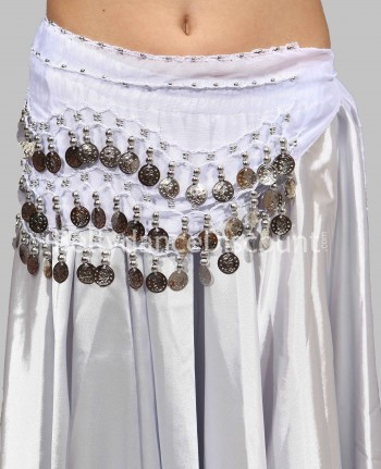 White belly dance belt with silver coins