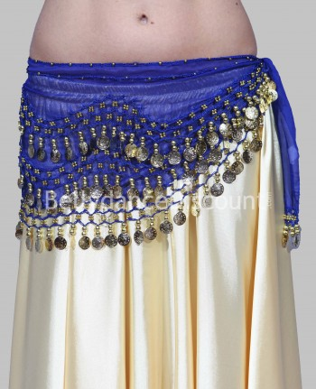 Dark blue belly dance belt with golden sequins