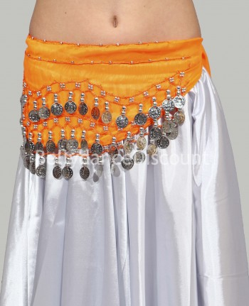 Orange belly dance belt with silver coins