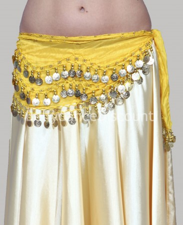 Yellow belly dance belt with golden sequins