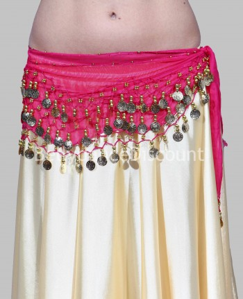 Fuchsia belly dance belt with golden sequins