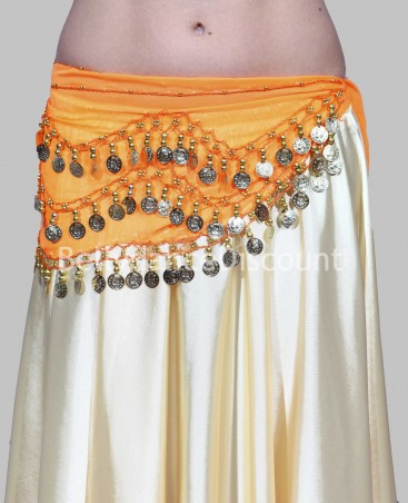 Orange belly dance belt with golden sequins