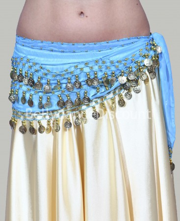 Light blue belly dance belt with golden sequins