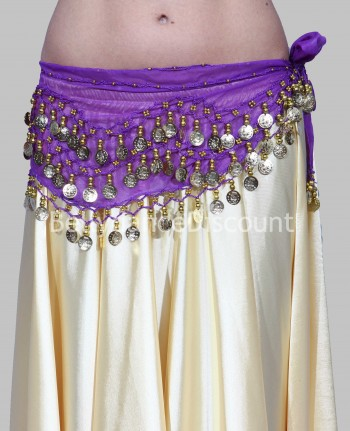 Purple belly dance belt with golden sequins