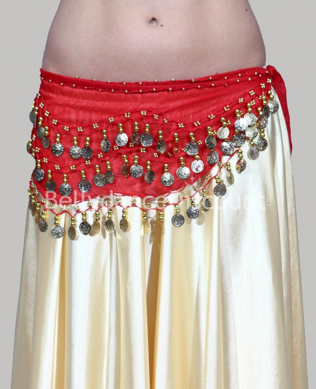 Red belly dance belt with golden sequins