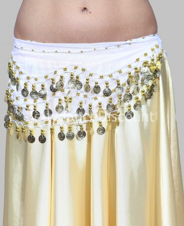 White belly dance belt with golden sequins