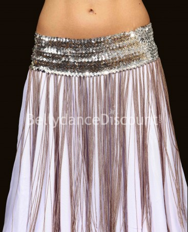 Long Bellydance belt with fringes silver