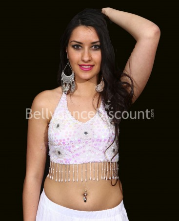 White oriental dance crop top