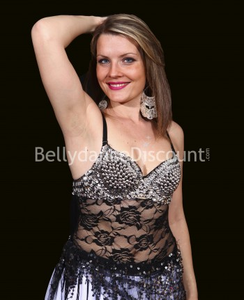 Silver belly dance bra