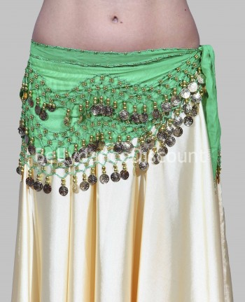 Green belly dance belt with golden sequins