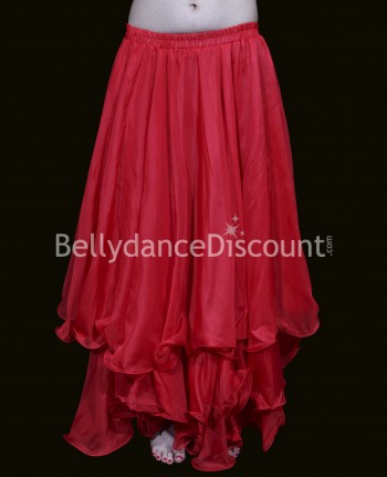 Red belly dance skirt with lining