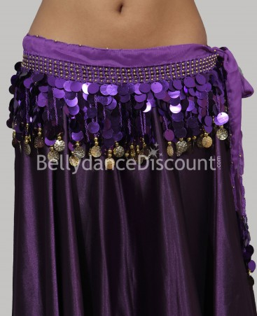 Bellydance belt with coins purple