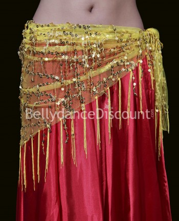 Sparkling yellow and gold Bellydance scarf