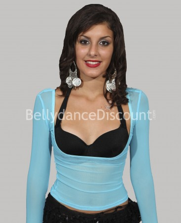 Top de danse transparent bleu ciel