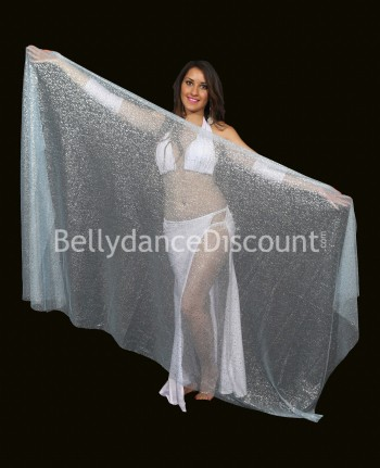 Light blue rectangular  oriental dance veil