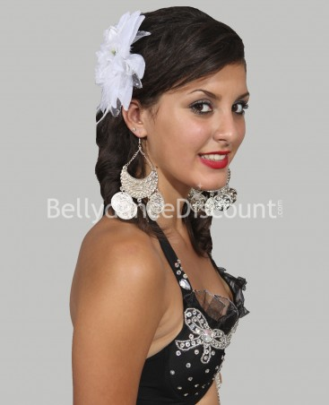 White oriental dance hairpiece