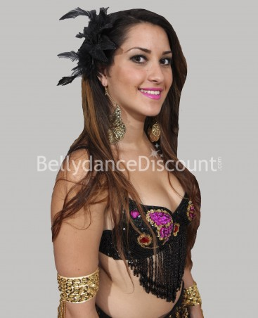 Black oriental dance hairpiece