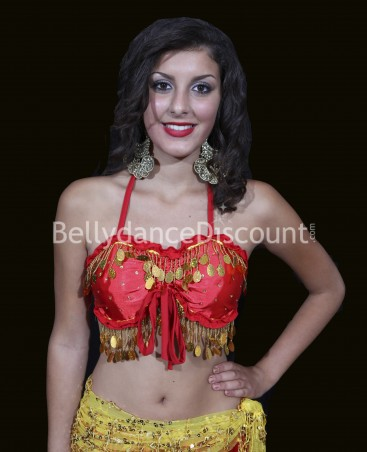 Top satin de danse orientale rouge