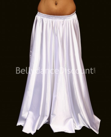 White belly dance satin skirt