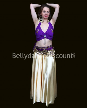 Top de danse violet et or