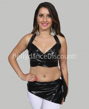 Set de danse top + ceinture brillant noir