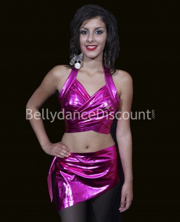 Shiny fuchsia top + belt dance set