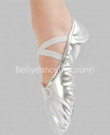 Silver dance ballet shoes