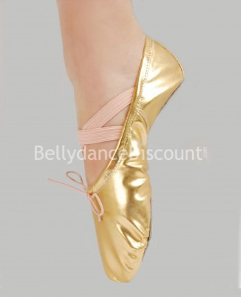 Gold dance ballet shoes