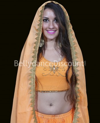 Voile de danse Bollywood orange