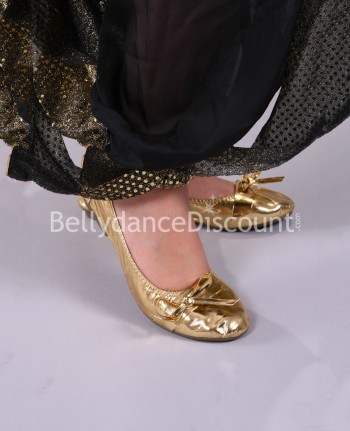 Gold Oriental dance ballet shoes