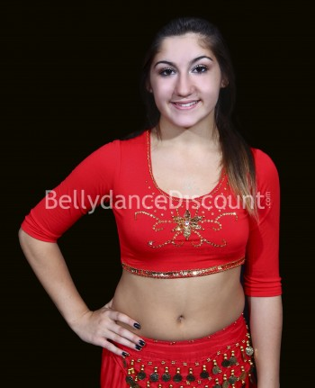 Bollywood and Oriental dance top for girls red