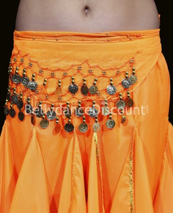 Ceinture enfant de danse orientale orange sequins or