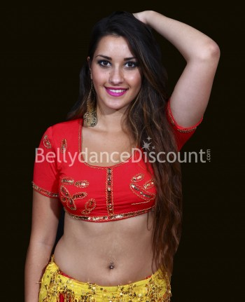 Top court de danse orientale et Bollywood rouge