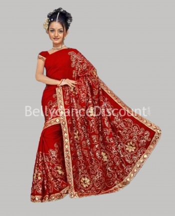 Sari de danse Bollywood Haute-couture rouge