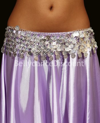 Oriental dance silver belt with sequins