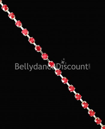 Strass chain 1 meter red
