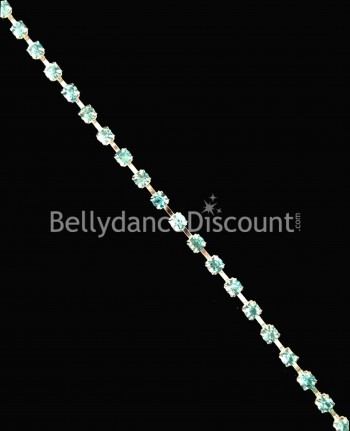 Strass chain 1 meter light blue