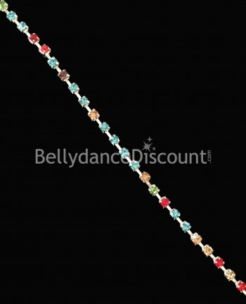 Strass chain 1 meter multicolor