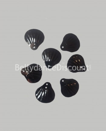Set of 100 seashell shape sew-on coins black