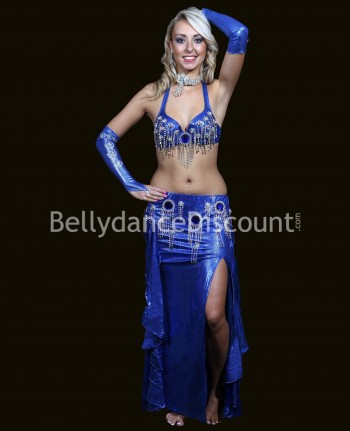 Navy blue belly dance costume