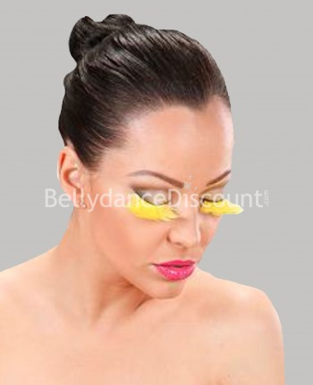 Pair of false feather eyelashes yellow