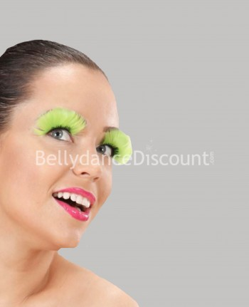 Pair of false feather eyelashes light green