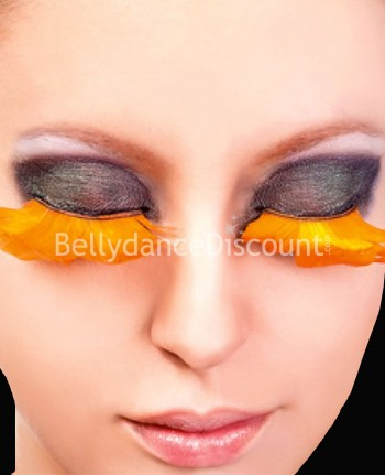 Pair of false feather eyelashes orange