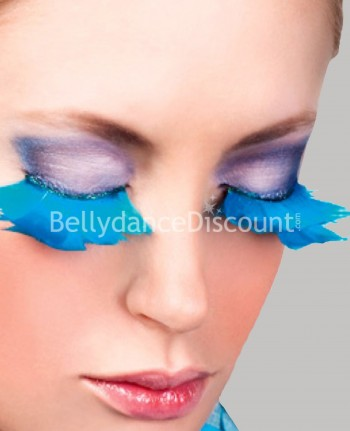 Pair of false feather eyelashes light blue