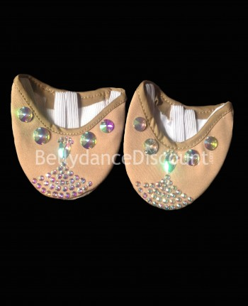 Ballerines de danse couleur peau mix de strass