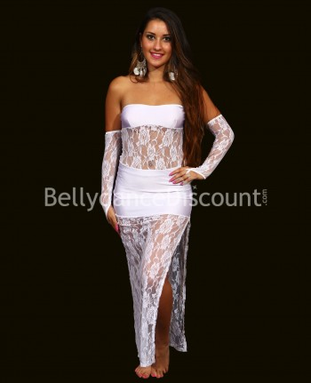 Strapless Bellydance dress with lace white