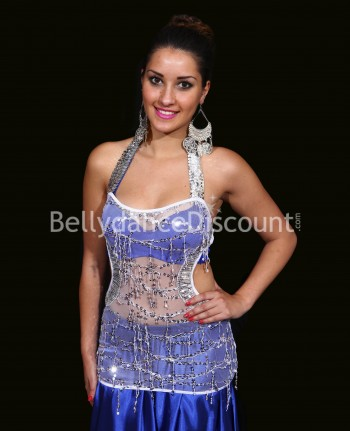 Transparent white and silver bellydance top