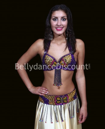 Bellydance bra + belt set purple and gold