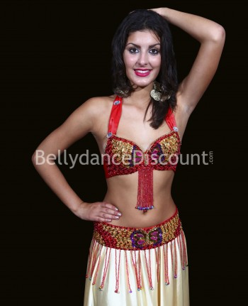 Bellydance bra + belt set red and gold